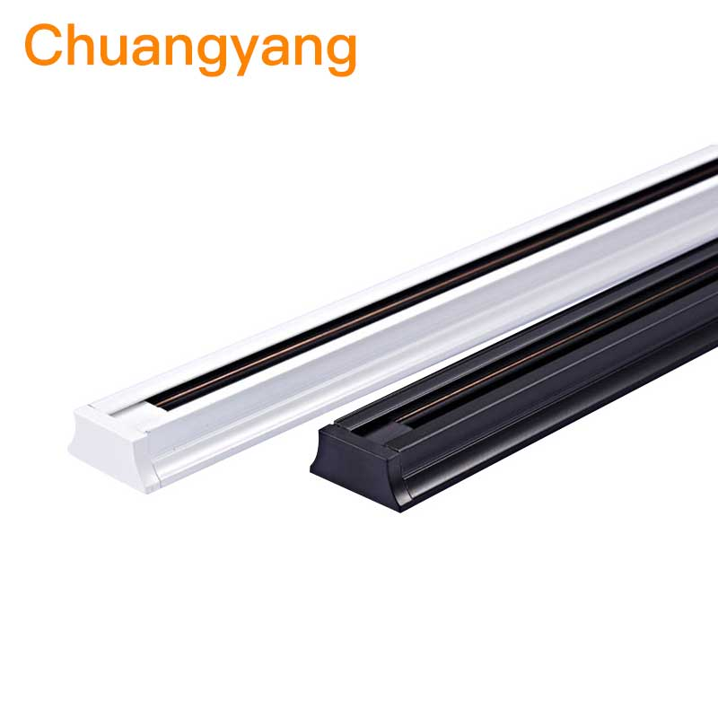 4Pcs/Lot  0.5M 1M Track Rail For LED Track Light Lamps, White Black Body, Universal Aluminum 2-wire Rail For Clothes Shop