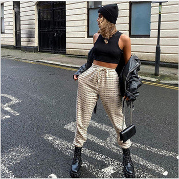 2020 Women's Letter Printed Jogging Pants  High-waisted Trousers Elasticated Wide Loose Pencil Pants Ladies Lace-up Street Wear new lace fly sleeved suspenders wear high waisted pants boot cut lace jumpsuit