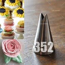 1pc bocais de folha de confeiteiro dicas de tubulação bicos pastelaria creme de aço inoxidável cupcake bolo decoração ferramentas de cozinha 352 #