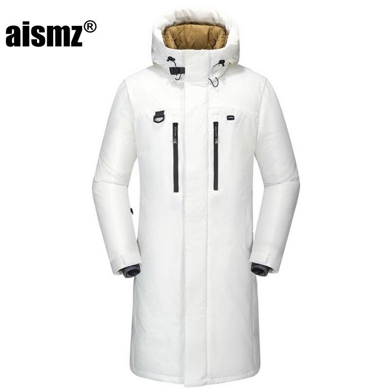 Aismz Winter men's long   down   jacket Russia Winter jacket men overcoat hat detachable windproof waterproof X-Long   down     coat   men