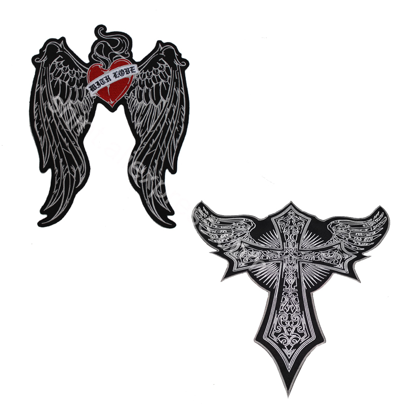 large Embroidery <font><b>Patches</b></font> <font><b>Angel</b></font> wings Cross Medal wings Lightness for Jacket Back vest <font><b>Biker</b></font> Punk accessories sew on image
