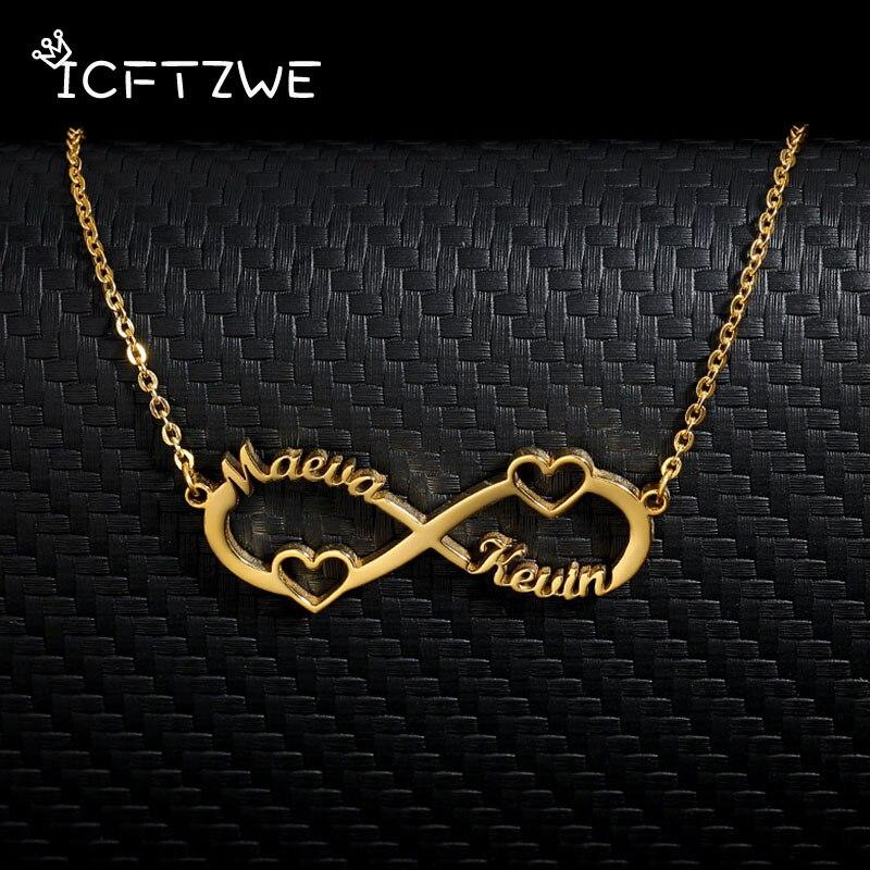 Collar de nombre personalizado para cadena de oro para mujeres de acero inoxidable infinito collar con colgante personalizado nombre collar joyería Bff