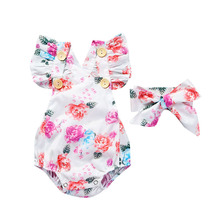 Baby Girl Outfit Set Newborn Straps Halter Romper Baby Triangle Suit Chiffon Outfits Baby Girl One Piece Suit with Headband