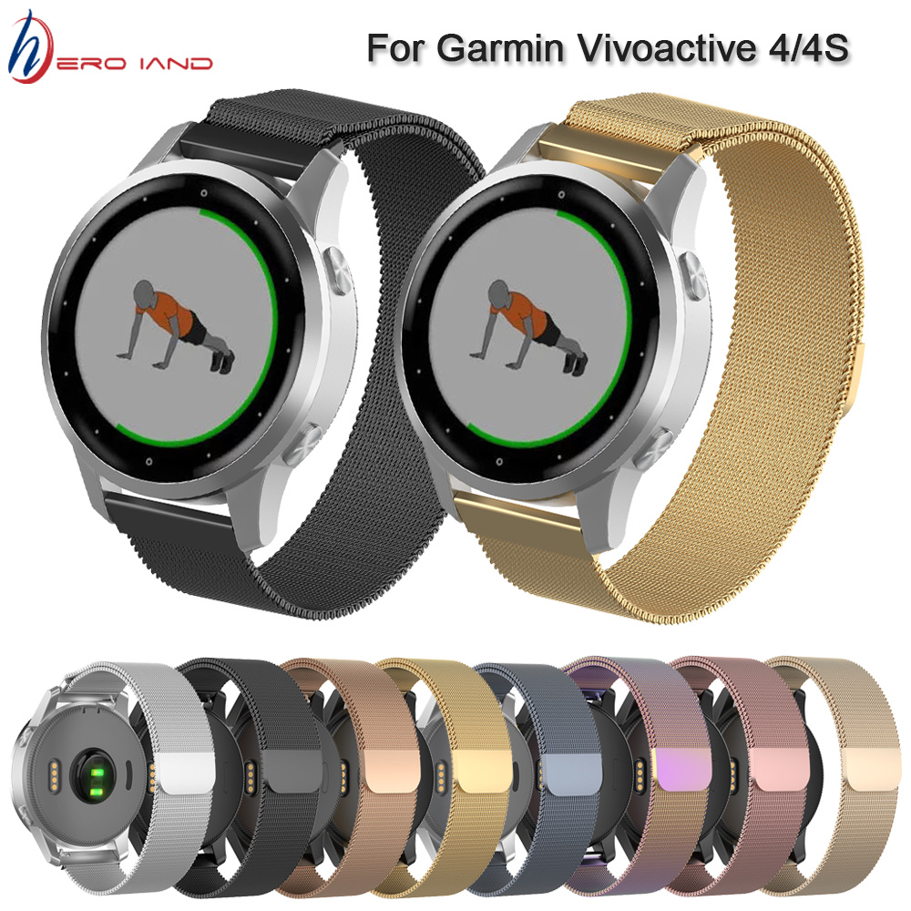 18 20 22MM Magnetic Metal Wrist Strap For Garmin Vivoactive 4 4S Smart Watch Band Milanese Straps For Garmin Vivoactive 3 Correa