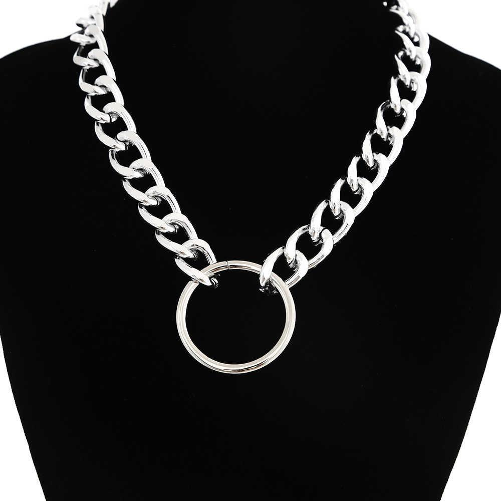 Oświadczenie masywny łańcuch choker naszyjnik punk goth Grunge srebrny metal modny naszyjnik kobiety mężczyźni trendy biżuteria