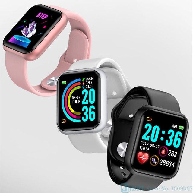 Nowy duży ekran inteligentny zegarek mężczyźni kobiety Smartwatch dla androida IOS mężczyźni kwadratowe inteligentny zegarek cyfrowy tętna zegarek do Fitness panie