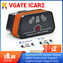 Vgate iCar2 ELM327 escáner bluetooth obd2 elm 327 V2.1 obd 2 wifi icar 2 escáner de diagnóstico automático para android/ computadora/IOS lector de código