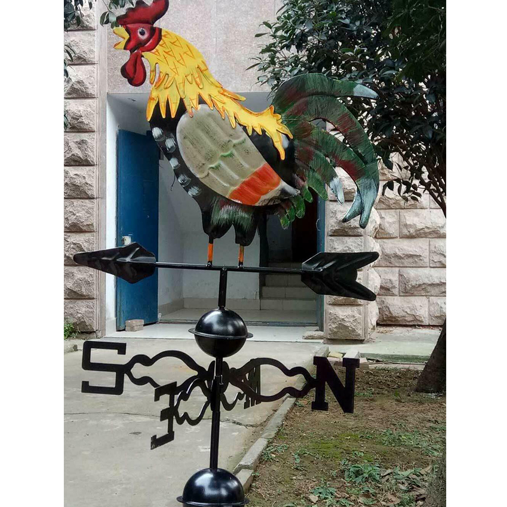 Professional Decor Wind Direction Colorful Garden Iron Structure Yard Spinner Rooster Design Retro Durable Craft Weather Vane