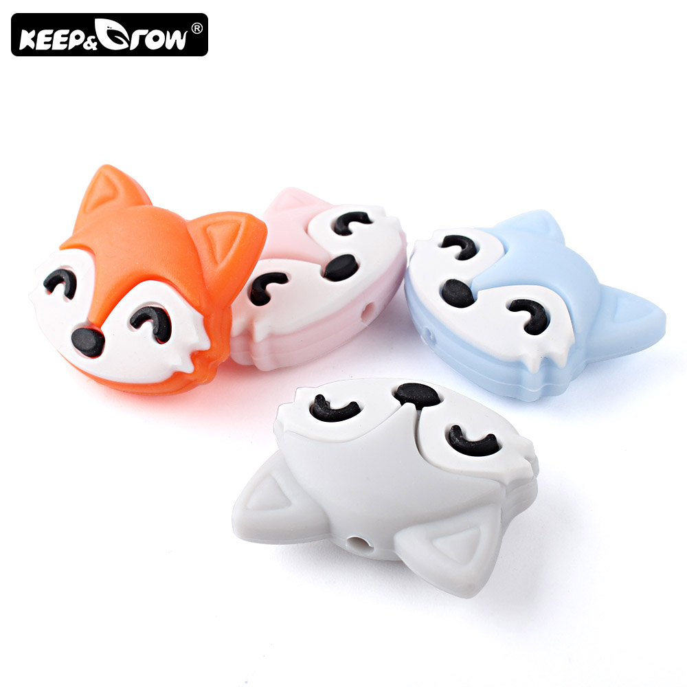 Keep&Grow 10pcs Mini Fox Silicone Beads BPA Free Rodent Baby Teethers DIY Teething Necklace Toys Accessories Perle Silicone