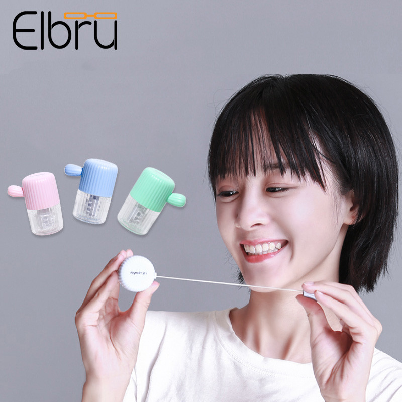 Elbru Contact Lens Washer Cartoon Cactus Contact Lenses Cleaning Tools Colored Contact Lens Cleaner Ultrasonic Stretch Cleaner