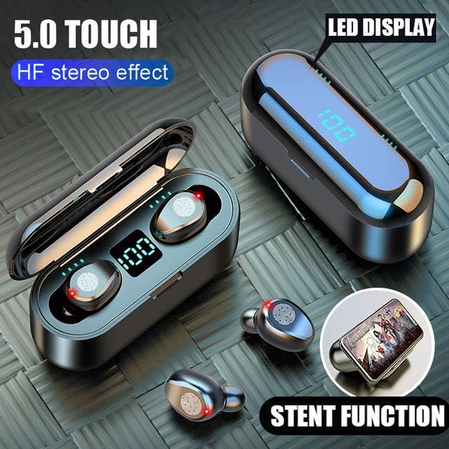 Bezprzewodowe słuchawki Bluetooth V5.0 F9 TWS bezprzewodowe słuchawki z Bluetooth wyświetlacz LED 2000mAh etui z funkcją ładowania słuchawki z mikrofonem