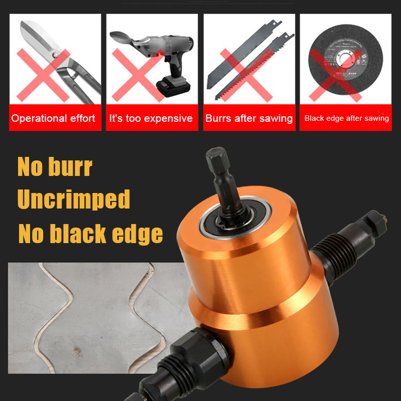 Double Headed Sheet Metal Drill Attachment Metal Cutter With Extra Punch Perfect For Straight Curve And Circle Cutting  XJS789