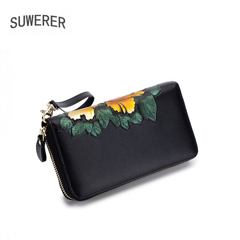 New Women Leather Bags Fashion Flower bag brand luxury handbag Women's famous brand cowhide leather women wallets Clutch bag