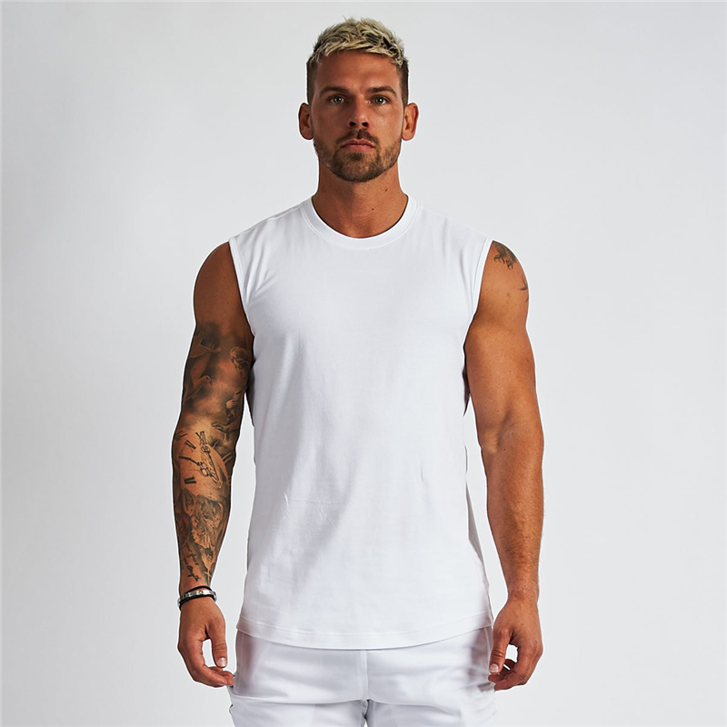 Compression Sleeveless Shirt Fitness Mens Tank Top Cotton Gym Clothing Bodybuilding Stringer Tanktop Muscle Singlet Workout Vest