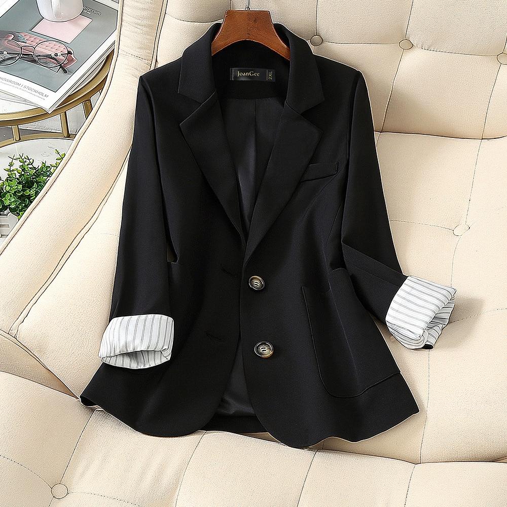 Темперамент M 5XL большой Размеры женские повторяется, не делайте нервы переводчику костюм бизнес одежда стильные осенние платья; Черная однобортная куртка свободного покроя брюки комплект одежды из двух предметов Пиджаки    АлиЭкспресс