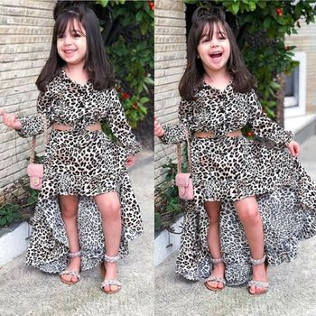 2PCS Suits Girls Clothing Set Baby Girl Long Sleeve Blouse+Mermaid Skirts  Kids Leopard Casual Clothes blouse tunic kids clothes children clothing