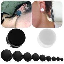 2 pçs acrílico orelha calibres plugues lóbulo piercing duplo queimado orelha calibres túneis branco & preto expansor maca corpo jóias