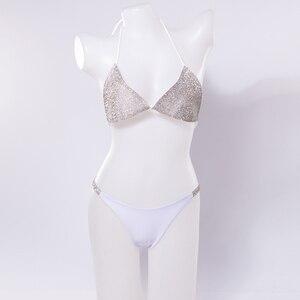Image 4 - Maillot de bain luxueux avec strass et diamants, soutien gorge Push Up, col licou, Bikini, ensemble deux pièces, Sexy, 2020, maillot de bain bandeau