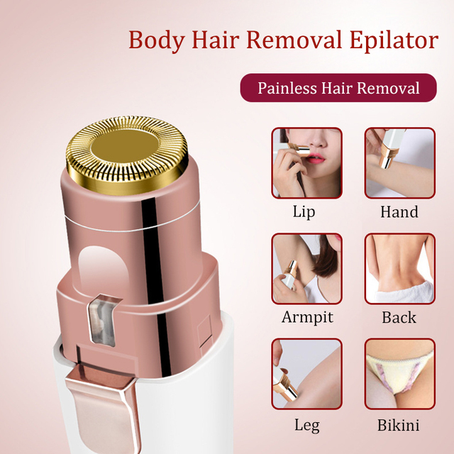2 IN 1 Rechargeable Epilator Electric Eyebrow Trimmer Female Body Facial Lipstick Shape Hair Removal Mini Painless Razor Shaver 3