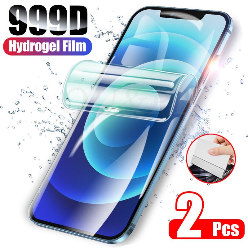 2 pçs capa completa protetor de tela para iphone 11 12 pro x xr xs max 7 8 plus filme de hidrogel para iphone x xr 7 8 6s filme macio