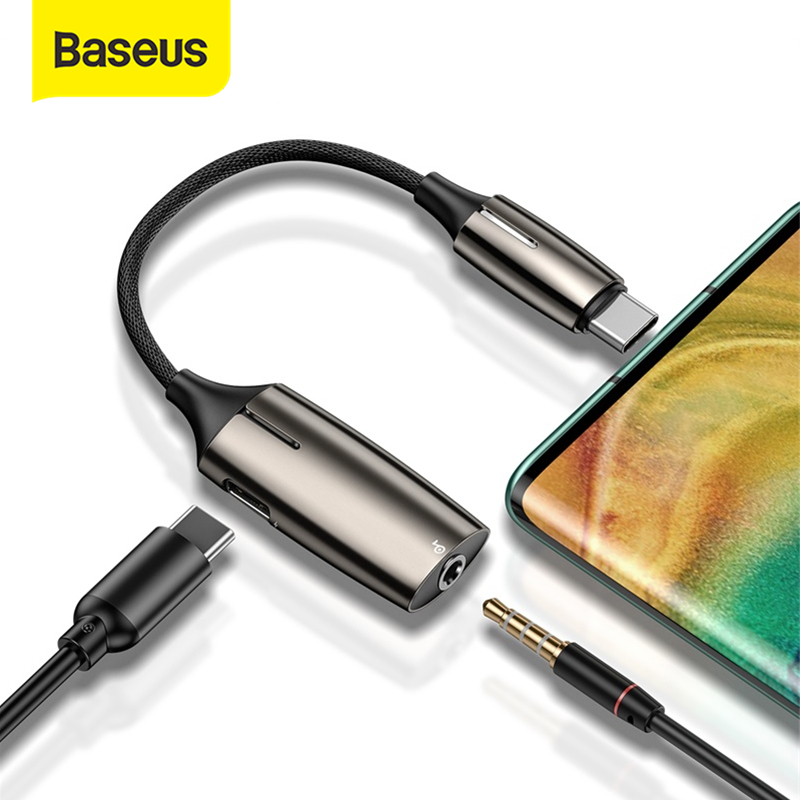 Baseus L60 USB C To 3.5mm Aux Audio Adapter Usb Type C Extension Cable With Light Interface 1 To 2 For Smart Phone