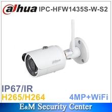 Original dahua IPC con il marchio senza fili aggiornabile 4MP IPC HFW1435S W S2 sostituisce IPC HFW1320S W 4MP IR CCTV IPC Pallottola Macchina Fotografica WI FI