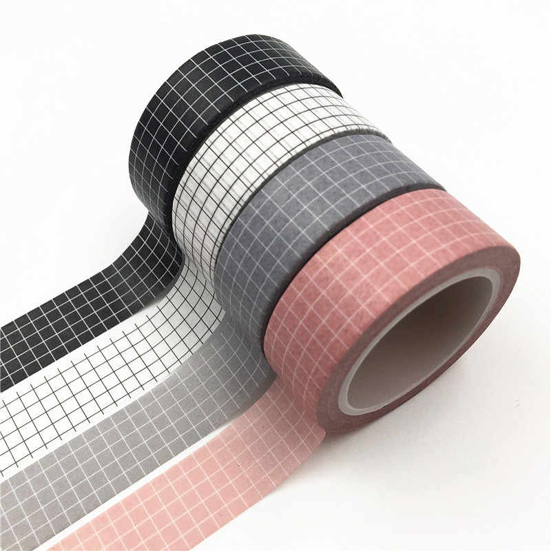 10M Zwart En Wit Raster Washi Tape Japanse Papier Diy Planner Masking Tape Plakband Stickers Decoratieve Briefpapier Tapes