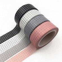 Cinta adhesiva de rejilla en blanco y negro de 10M Papel japonés Planificador de bricolaje Cintas adhesivas Pegatinas Cintas de papelería decorativas