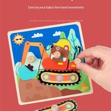 Baby 3D Wooden Peg Hand Grasping Board Puzzle Children Educational Cartoon Animal Matching Cognitive Jigsaw Puzzle Kid Toys Gift cheap CN(Origin) Unisex 3 years old NONE 3D PUZZLE about 75g per piece 15*15*2cm support