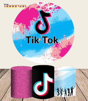 Round Photography Backdrop Happy Birthday Tok Tik Photo Booth Props Party Banner Table Cover Plinth Photograph Props