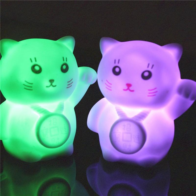 1pc Novelty Fortune Cat Night Light Flashing Gradient Colorful Lamp For Bedroom Home Decor