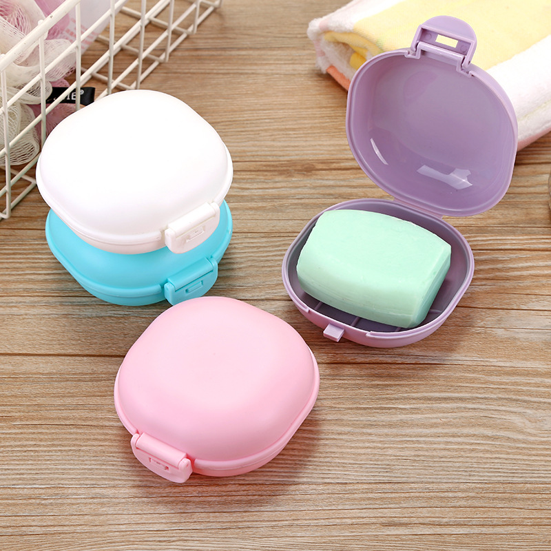 1pc Plastic Waterproof Dish With Lid Portable Travel Cube Soap Box Bathroom Accessories Soap Dish Box Useful Case Container