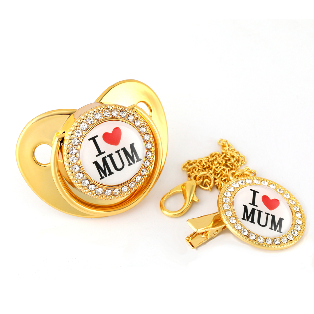 Luxury Golden I Love Mum Bling Pacifier With Chain Clip Newborn Baby Boy Girl Dummy Nipples Food Grade Silicone Pacifier Soother