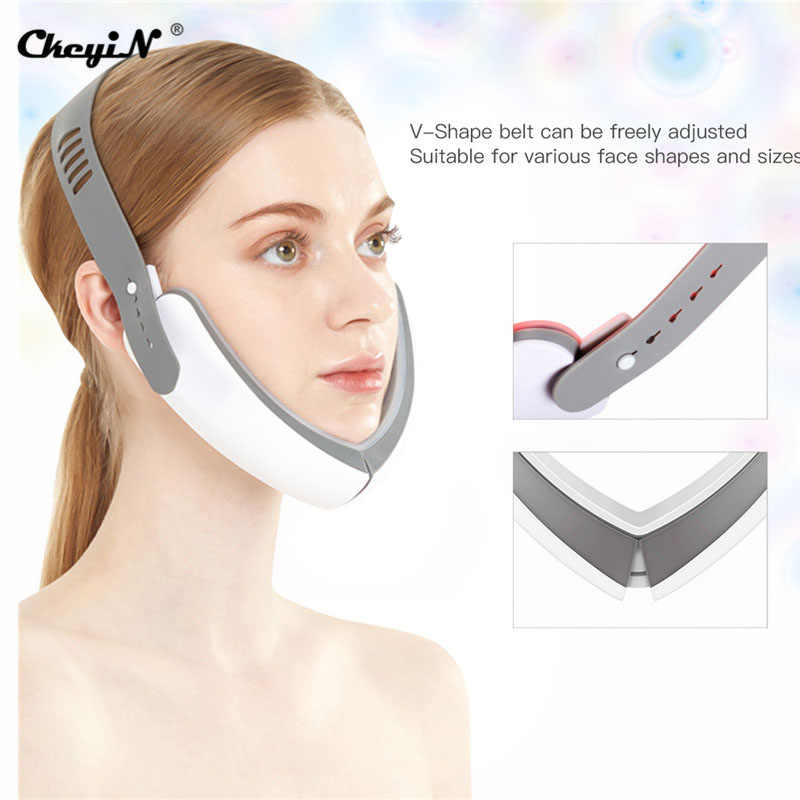 Ckeyin Chin V-Line Up Lift Riem Machine Rood Blauw Led Photon Therapie Facial Lifting Apparaat Gezicht Afslanken Trillingen massager