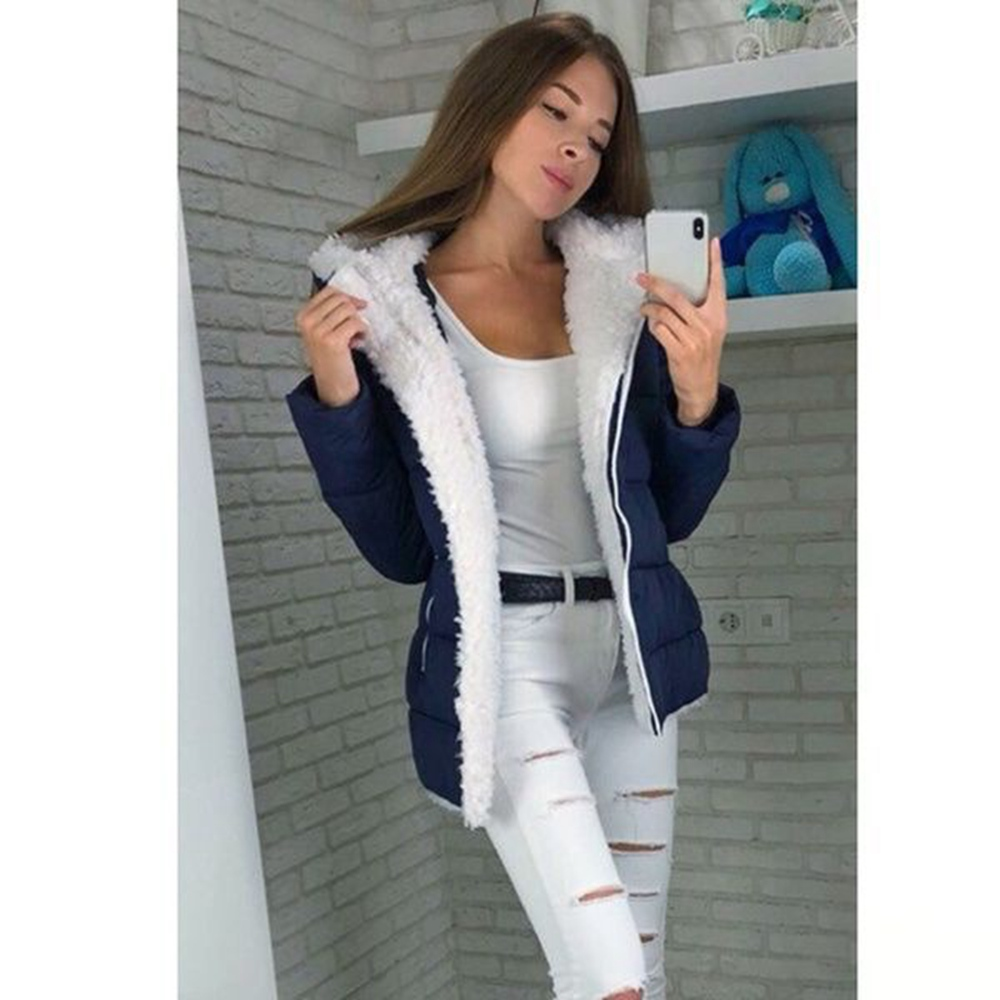 Hooded Ladies Coat Mid-Long Coats Parka Solid Jacket  Women Winter Thick Cotton Streetwear Female Top