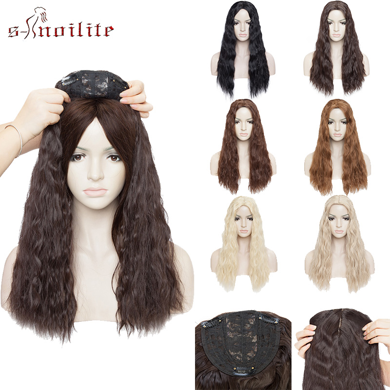 S-noilite Water Wave Hair Topper Hairpiece Clip In One Piece Synthetic Hair Extension Toupee Hair For Women Top Piece Fake Hair