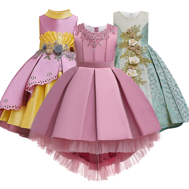 Girl Flower Girl Wedding Party Bridesmaid's Banquet Tail Dress Girl Birthday Party Dance Performance Dinner Tail Dress