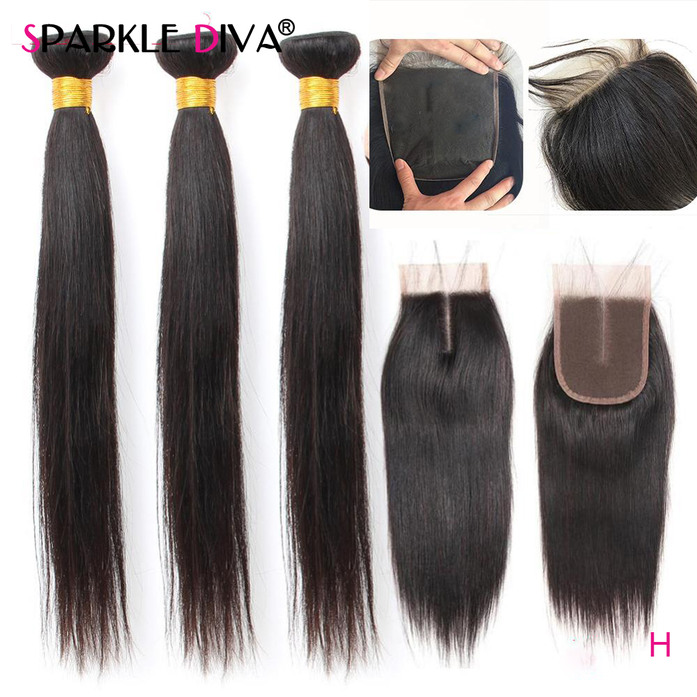 Straight Human Hair Bundles With Closure 8''-40'' Inch Remy Long Hair Brazilian Human Hair Weave Bundles 3 Bundles With Closure