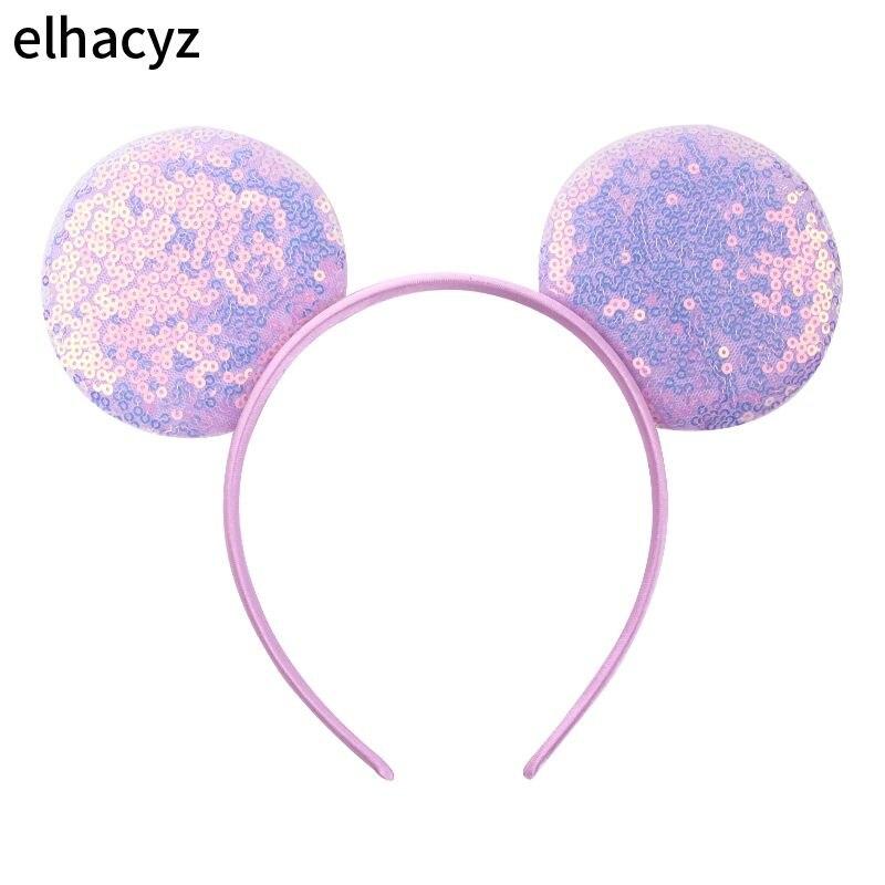 10pcs/lot 2020 Hot-sale 3.3'' Sequins Mini Mouse Headband 32 Colors Bright Ears Children Hairband DIY Headwear Hair Accessories