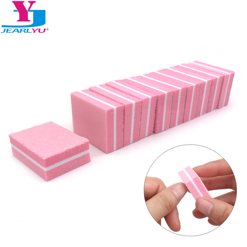 20pcs/lot Pink Disposable Sponge Nail File Sandpaper Nail Polishing Buffing Blocks Pedicure Manicure Nail Accessories Tools Set