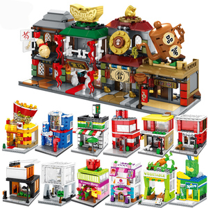 City Mini Street Retail Store Food Candy Pizza Shop Building Kits Blocks Scene Sets Architecture Child Kids Toys Market View
