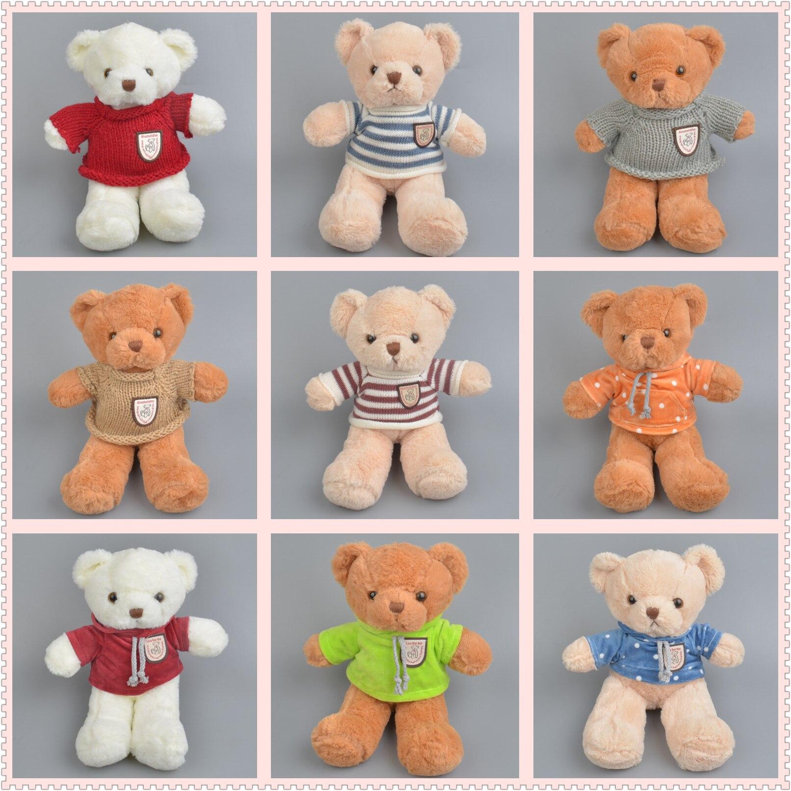 25cm Sweater Teddy Bear Hug Bear Doll Plush Toy Cute Teddy Bear Doll Kawaii Stuffed Doll Lovely Plush Toys Big Collection