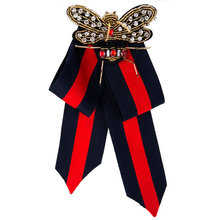 Designer Brooches for women Brand Luxury Ribbon Bow Brooch Handmade Brand Bee Fabric Corsage Ribbons  Brooches Pins Jewelry Gift fashion women ribbon brooches college black white stripe big brand red bee brooch pins for school girl corsage collar jewelry