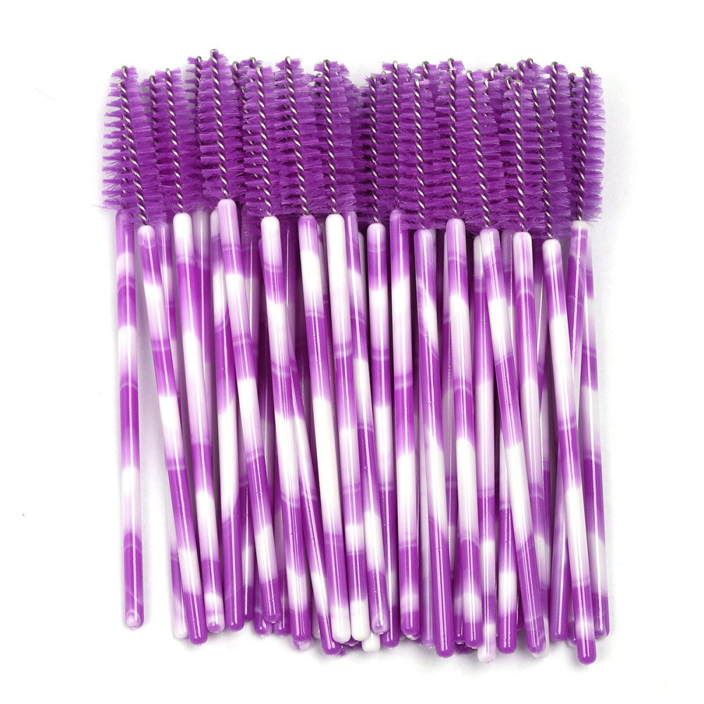 New High Quality 50Pcs Disposable Eyelash Extension Cleaning Brush Micro Mascara Wand Lash Eyebrow Brush Applicator Spoolers