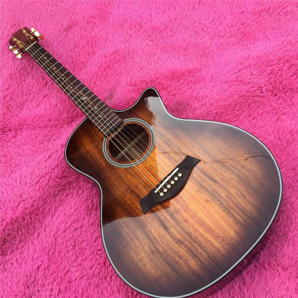 Chaylor K24ce Solid Koa Acoustic Guitar,New Cutaway 41 inch K24 koa Electric Guitarra,Free shipping