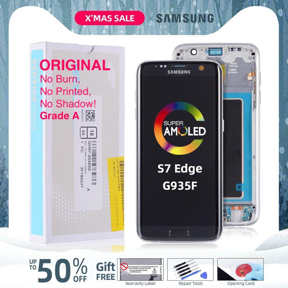 ORIGINELE Super AMOLED Display Voor SAMSUNG Galaxy S7 Rand LCD Touch Screen Digitizer Vergadering met Frame Vervanging G935F G935