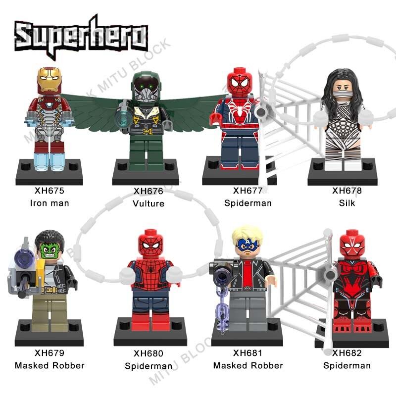 Single Sale Super Heroes Brick Iron Man Vulture Spiderman Silk Masked Robber Spiderman Masked Robber Spiderman Building Block