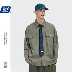 Мужская рубашка с длинным рукавом INFLATION, уличная хлопковая рубашка Harajuku для мужчин, повседневный стиль, рубашка для мальчиков, осень 2020, 2092W20