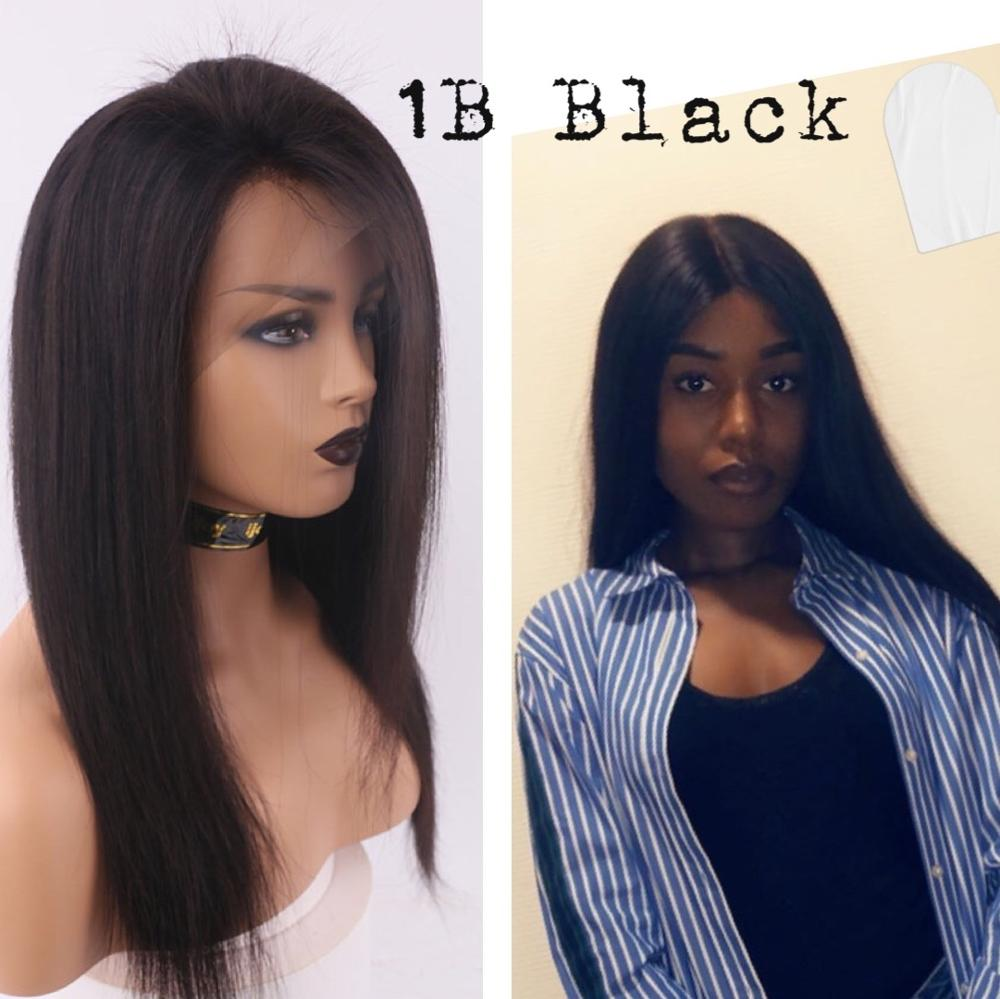 Human Hair Wigs Straight 13×4 Lace Front 18''-28'' H #1B Obsidian Black Non-Remy Brazilian Hair IJOY