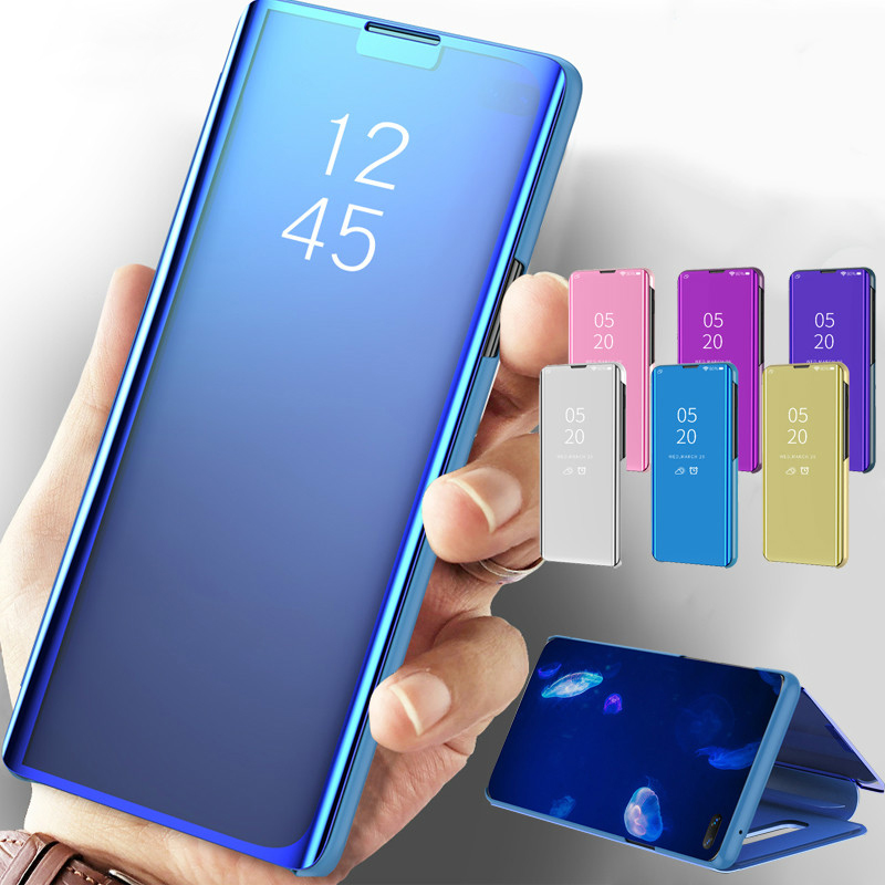 Smart Leather Mirror <font><b>Flip</b></font> Case For <font><b>Samsung</b></font> Galaxy <font><b>S10</b></font> Plus S8 S9 Plus S10e Note 9 Not 8 360 Phone <font><b>Cover</b></font> For Galaxy S 10Plus S 10 image